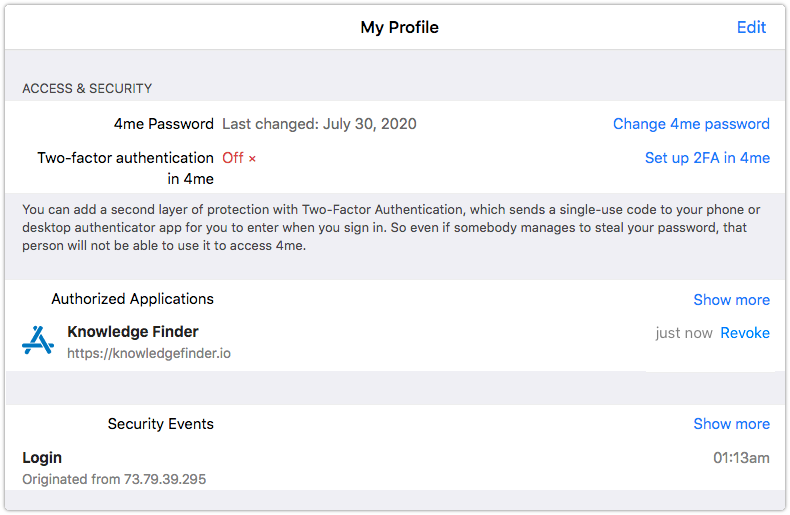 Authorized Applications in the Access & Security section of My Profile