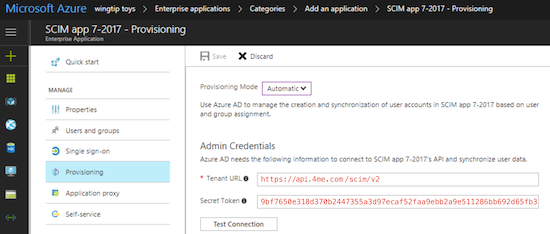 Azure SCIM connection